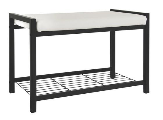 Garderobenbank Lucky - Schwarz/Weiß, MODERN, Textil/Metall (68/47,50/35cm)