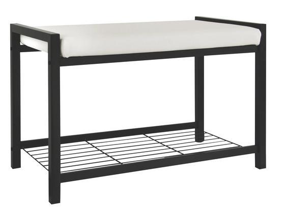 Šatní Lavice Lucky - bílá/černá, Moderní, kov/textil (68/47,50/35cm)