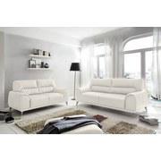 Zweisitzer Frisco - Chromfarben/Weiß, MODERN, Textil (166/92/96cm)
