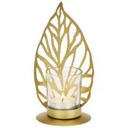 Teelichthalter Liam - Art Deco - Goldfarben, LIFESTYLE, Glas/Metall (9.5/8.3/18cm)