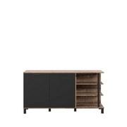 Sideboard Geluza B: 154 cm - Mooreichefarben/Schwarz, Basics, Holzwerkstoff/Kunststoff (154.6/80.6/41.6cm)