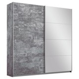 Schwebetürenschrank Belluno B:181cm Stone Dekor/spiegel - Grau, MODERN, Holzwerkstoff (181/230/62cm)