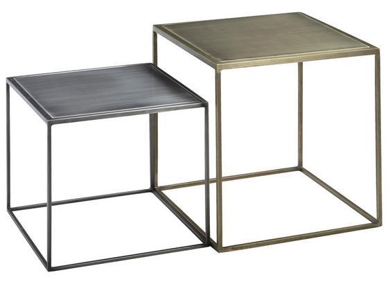 Couchtischset Mattis 2-Teilig - Messingfarben/Zinkfarben, MODERN, Metall (40/45/40cm) - Livetastic
