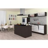 Einbauküche Premium B: 310 cm Weiß Hgl - Eichefarben/Weiß, MODERN, Holzwerkstoff (310/200/270cm) - MID.YOU