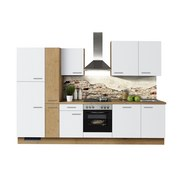 KÜCHENBLOCK IP1200 - Eichefarben/Weiß, Design, Holzwerkstoff (310cm) - Impuls