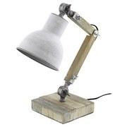 Tischlampe Kingston Grau/Weiß Echtholz mit Flexarm - Schwarz/Weiß, MODERN, Holz/Metall (14/14/43cm)