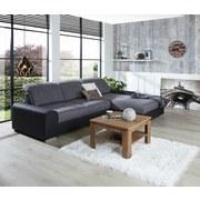 Wohnlandschaft In L-Form Malaga 286x203 cm - Dunkelgrau/Silberfarben, KONVENTIONELL, Holzwerkstoff/Textil (286/203cm) - Ombra