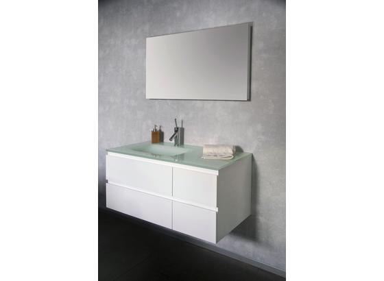 Badezimmer Cube 100cm - Weiß, MODERN, Glas/Holzwerkstoff (100/170/52cm)