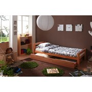 Bett Echtholz inkl. Bettkasten 90x200 Lupo, Buche - Buchefarben, Basics, Holz (90/200cm) - Livetastic