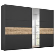 Schwebetürenschrank Borneo B: 261 cm Grau - Basics, Holzwerkstoff (261/210/59cm)
