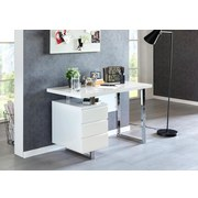 Schreibtisch Patty B: ca. 115 cm Weiß - Silberfarben/Weiß, MODERN, Holzwerkstoff/Metall (115/76/60cm) - MID.YOU