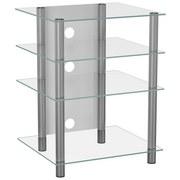 TV-Regal Bilus B: 54 cm Silber, Glas - Klar/Silberfarben, KONVENTIONELL, Glas/Metall (54/70/47cm) - MID.YOU