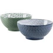 Schüsselset Telde 2-Tlg. Blau,grün - Blau/Grün, Basics, Keramik (40/30/20cm)