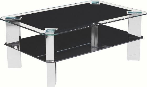 Dohányzóasztal Astana - fekete/nemesacél színű, modern, üveg/fém (110/44/70cm)