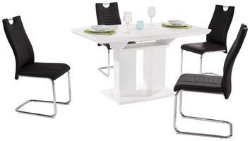 Tischgruppe mit weißem Tisch und schwarzen Stühlen