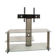 TV-Regal Bulmo B: 120 cm Silber, Glas - Klar/Silberfarben, KONVENTIONELL, Glas/Kunststoff (120/90/40cm) - MID.YOU