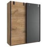 Schiebetürenschrank Liverpool - Eichefarben/Graphitfarben, Design, Holzwerkstoff (135/198/64cm) - Livetastic