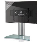 TV-Rack Windoxa Maxi B: 80 cm - Klar/Silberfarben, KONVENTIONELL, Glas/Metall (80/74/40cm) - Livetastic