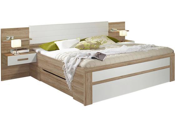 Posteľ Bernau 180 - farby dubu/biela, Moderný, kompozitné drevo/textil (285/96/208cm)