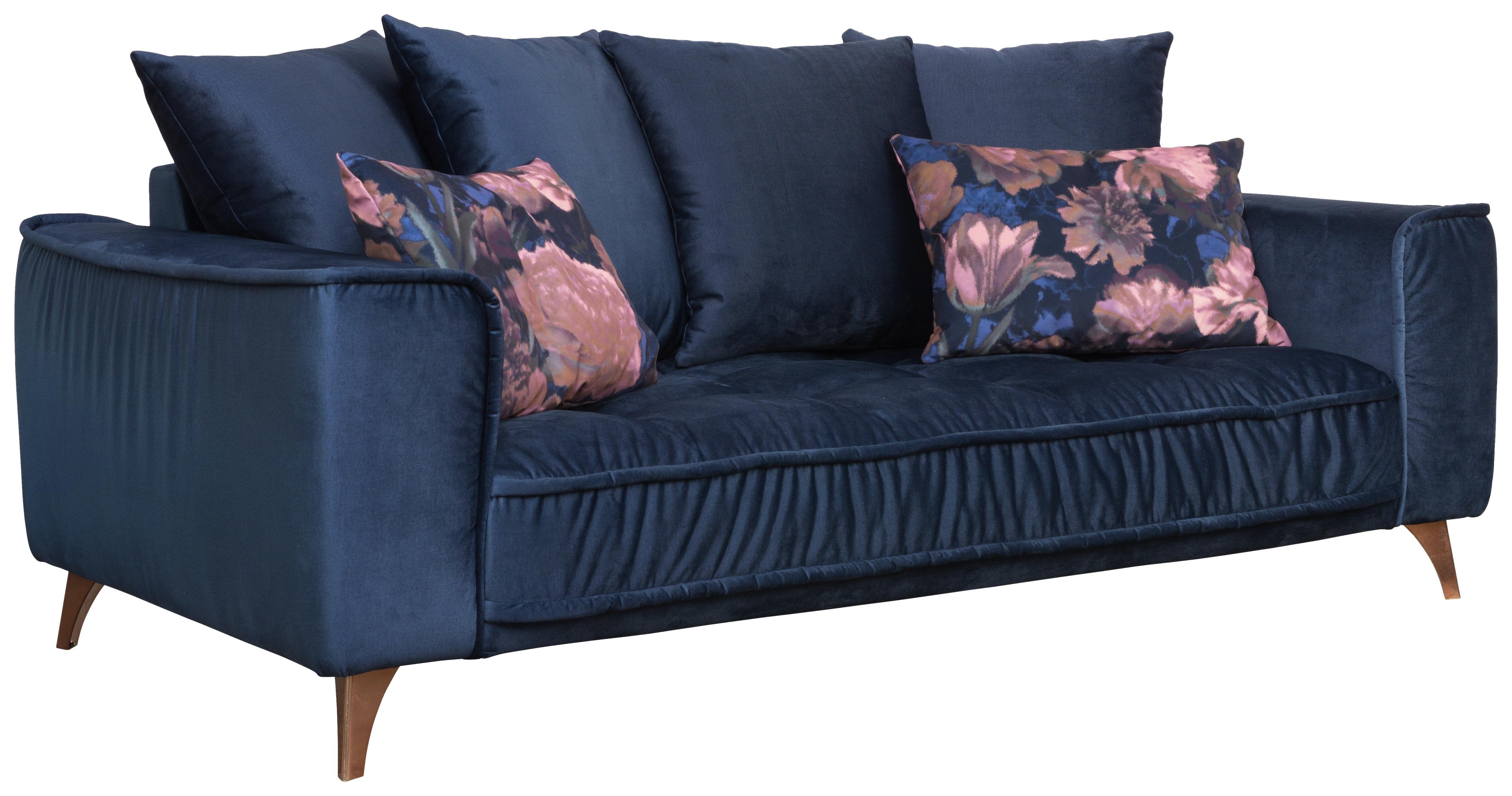 Sofa B: 204 cm - Dunkelblau/Kupferfarben, MODERN, Textil (204/92/106cm) - Luca Bessoni