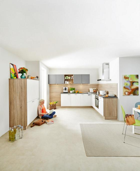 Einbauküche in L-Form Win 305x245 cm Weiß/bergeiche - MODERN, Holzwerkstoff - Express