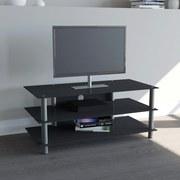 TV-Regal Zumbo B: 110 cm Schwarz, Silber - Silberfarben/Schwarz, KONVENTIONELL, Glas/Metall (110/45/42cm) - Livetastic