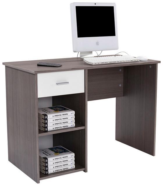 Schreibtisch Kubek 2 - Dunkelbraun/Weiß, MODERN, Holzwerkstoff (110/75/50cm)