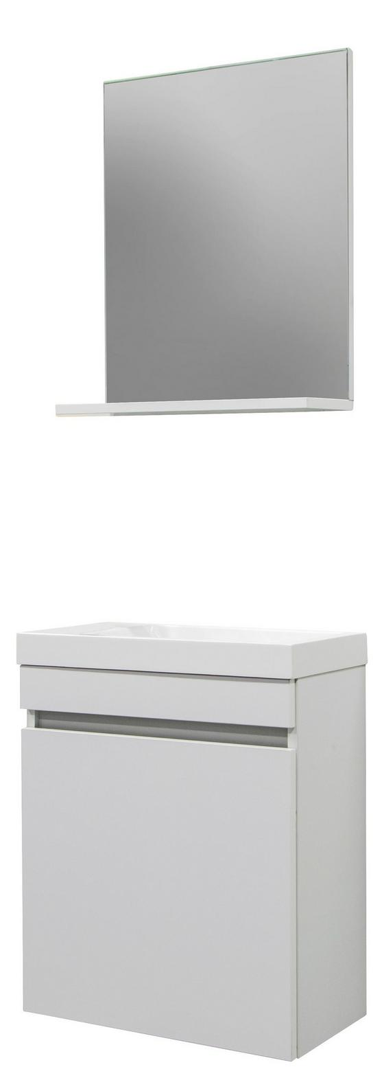 Badezimmer Slim Weiß - Weiß, MODERN, Holzwerkstoff (48/25cm)