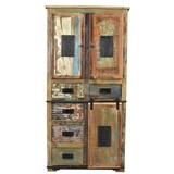Aktenschrank Altholz Massiv, Multicolor B 90 cm - Multicolor/Schwarz, Basics, Holz/Metall (90/180/40cm)