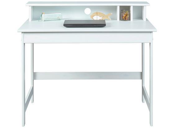 Schreibtisch Massiv B 110cm H 76cm Hilda, Weiß - Weiß, Basics, Holz/Holzwerkstoff (69/110/76-91cm) - MID.YOU