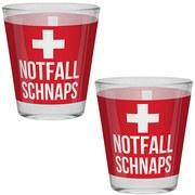 Schnapsglas Notfall - Rot/Weiß, KONVENTIONELL, Glas (4,8/6cm)