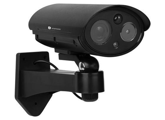 Überwachunskamera Attrappe mit LED- und  Blitzlicht - Schwarz, MODERN, Kunststoff (8,6/14,8/19,8cm)