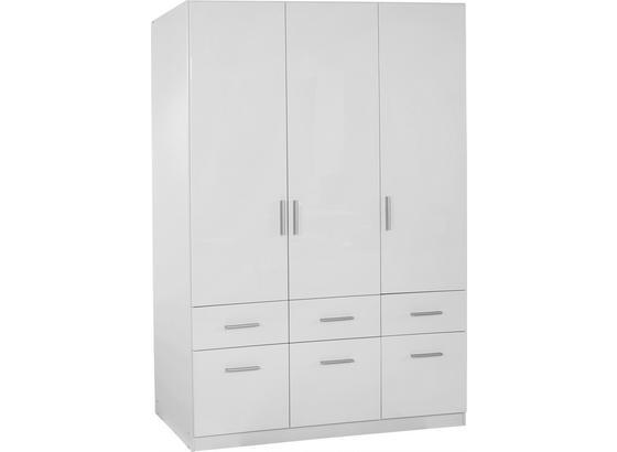 Kleiderschrank Celle B:136cm Weiß Hochglanz Dekor - Weiß, MODERN, Holz (136/197/54cm)