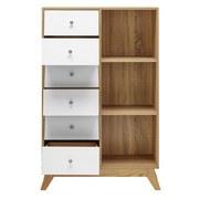 Regál Enny - farby borovice/biela, Moderný, drevený materiál/drevo (80/124/35cm) - Modern Living
