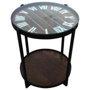 Beistelltisch Esche Dekor inkl. Uhr - Schwarz/Braun, MODERN, Glas/Holzwerkstoff (47,5/56cm)