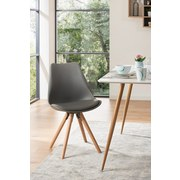 Stuhl Levi Lederlook Grau, Beine Echtholz - Eichefarben/Grau, MODERN, Holz/Kunststoff (48/81/57cm) - Ombra