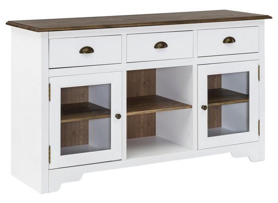 Sideboard Mayla B: ca. 140 cm - Transparent/Weiß, ROMANTIK / LANDHAUS, Glas/Holz (140/85/45cm) - Carryhome