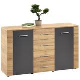 Kommode Uno 140cm Kraft Eiche/ Lavagrau/ Dekor - Eichefarben/Grau, MODERN, Holzwerkstoff (140/80/40cm)