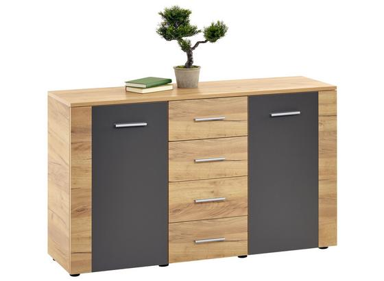 Komoda Uno Unk02 - šedá/barvy dubu, Moderní, kompozitní dřevo (140/80/40cm)