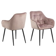 Stuhl Brooke B: 58 cm Rosa - Schwarz/Rosa, Trend, Textil/Metall (58/83/55cm) - Livetastic