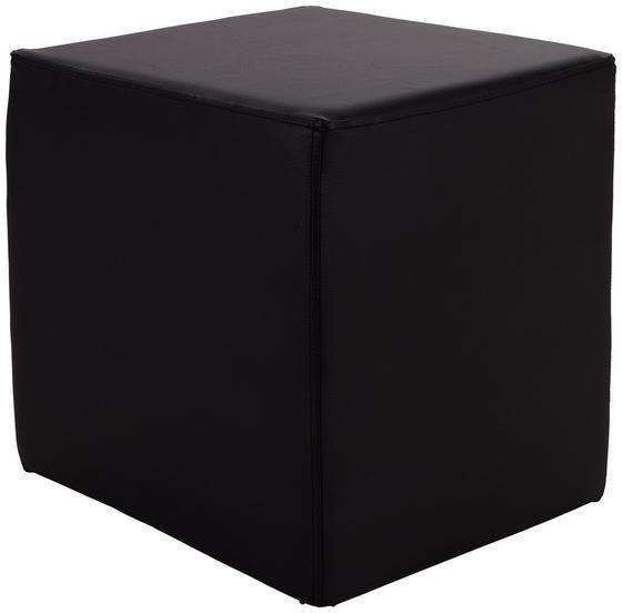 Taburet Betty - čierna, Basics, koža/textil (45/45/45cm)