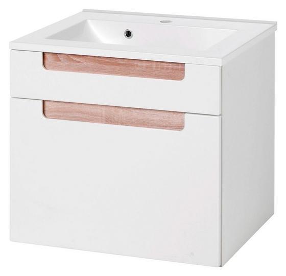 Waschtischkombi Siena 60cm Weiß/sonoma Eiche - Weiß/Sonoma Eiche, MODERN, Holzwerkstoff/Kunststoff (60/54/47cm)