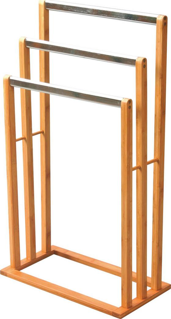 Handtuchhalter Rose - Edelstahlfarben/Naturfarben, MODERN, Holz/Metall (46,5/82/24,5cm) - Homezone