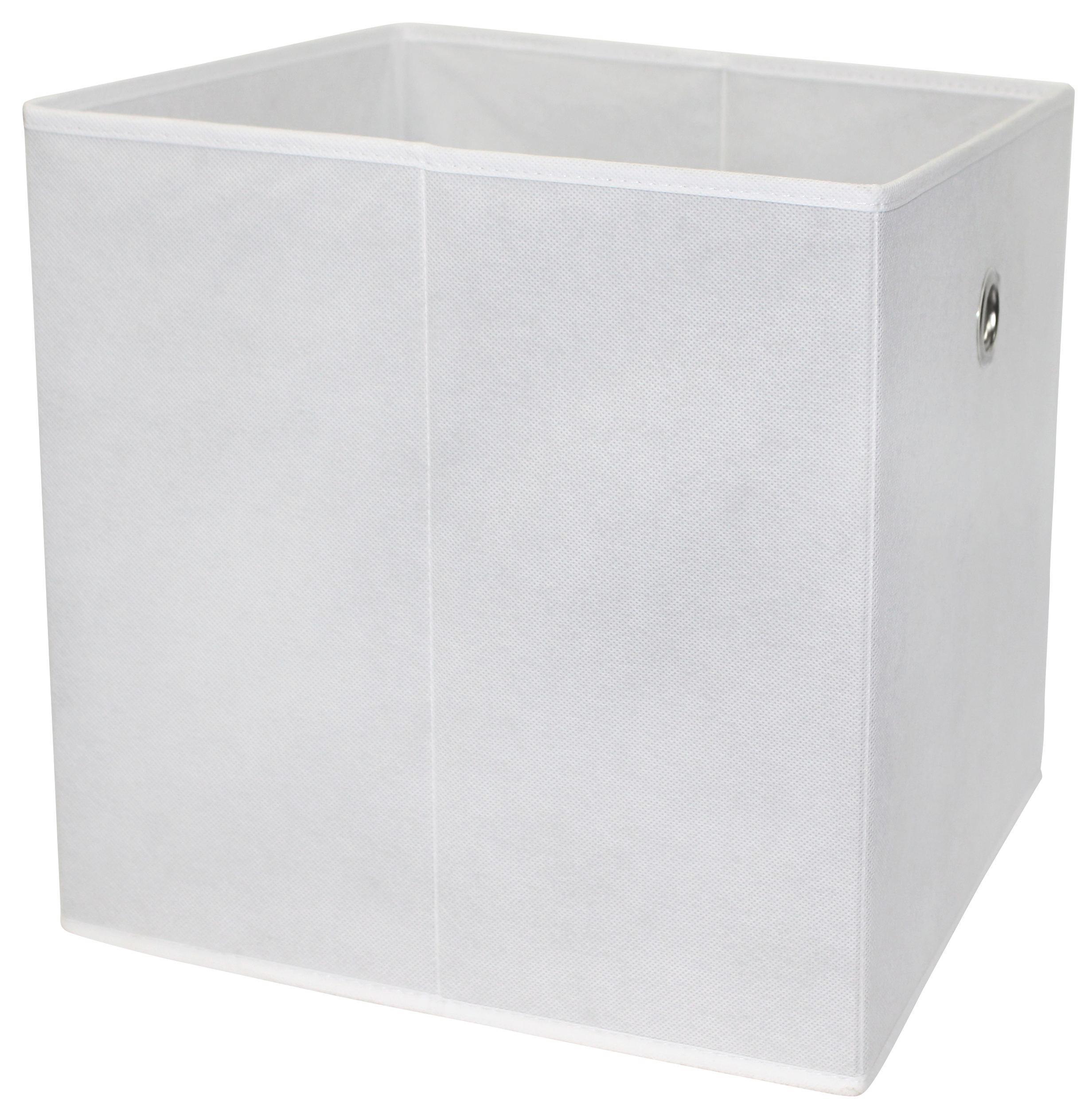 Összecsukható Doboz Cubi - fehér, modern, textil/faanyagok (32/32/32cm)