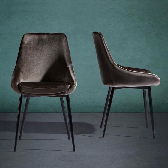 Židle Enna - šedá/černá, Moderní, kov/textil (48/55/85cm) - Modern Living