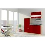 Küchenblock Economy 160cm Rot/Eiche Dekor - Edelstahlfarben/Eichefarben, MODERN, Holzwerkstoff/Metall (160cm) - MID.YOU