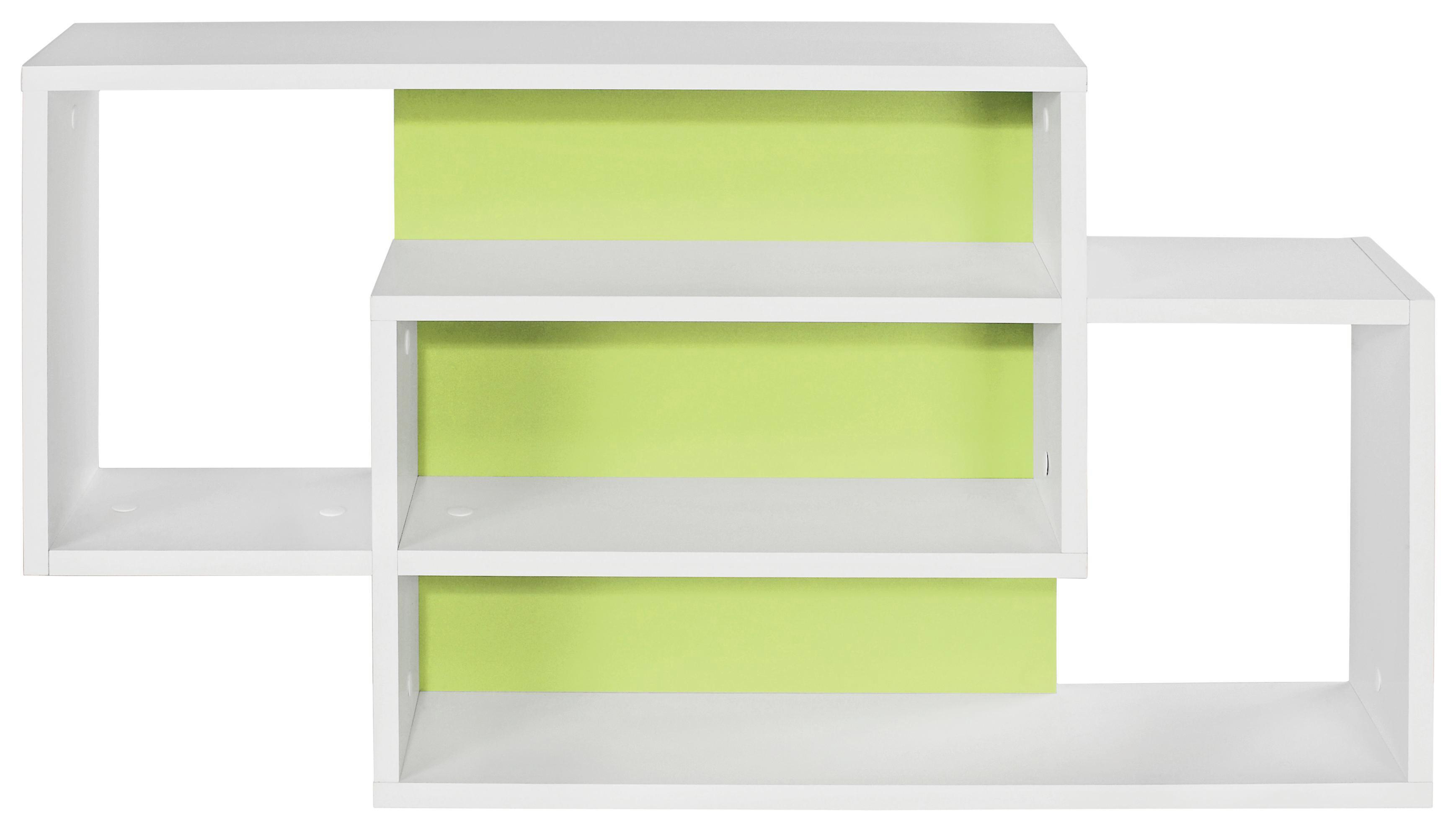 Falipolc Dream - fehér/zöld, modern, faanyagok (90/48/16cm)