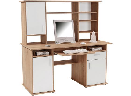Psací Stůl Thema 2 - bílá/Sonoma dub, Moderní, kompozitní dřevo/umělá hmota (160/153,4cm)