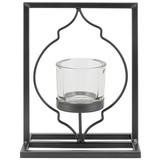 Teelichthalter Aleydis - Klar/Schwarz, Basics, Glas/Metall (15/19,5/9,5cm) - Luca Bessoni