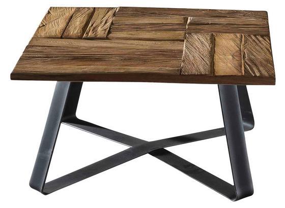 Couchtisch B: 80 cm Teakholz Massiv - Schwarz/Naturfarben, Basics, Holz/Metall (80/41/80cm)